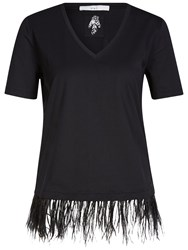 Oui Feather Hem T Shirt Black