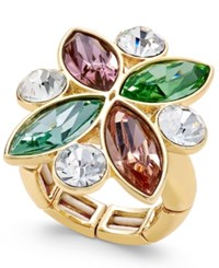 Charter Club Gold Tone Multi Color Crystal Stretch Ring Only At Macy's
