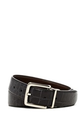 Cole Haan Genuine Leather Reversible Croc To Veg Belt Black