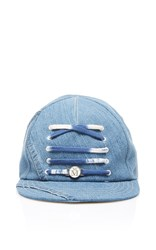 Maison Michel Nick Lace Up Baseball Cap Blue
