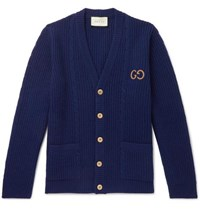 Gucci Logo Embroidered Cable Knit Wool Cardigan Blue