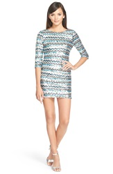As U Wish Three Quarter Sleeve Sequin Minidress Black