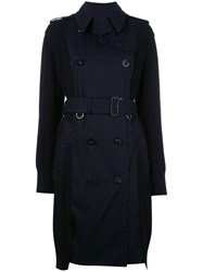 Sacai Belted Trench Coat Blue