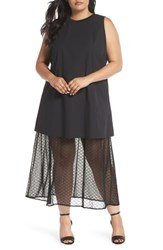 Elvi Plus Size Women's The Agata Sheer Hem Maxi Dress Black