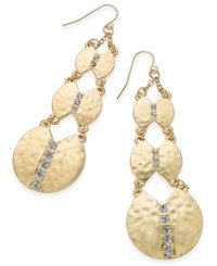 Thalia Sodi Gold Tone Hammered Disc And Crystal Triple Drop Earrings Only At Macy's