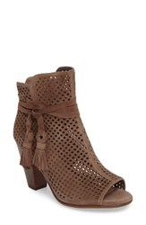 Vince Camuto Women's Kamey Perforated Open Toe Bootie Phantom Suede