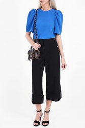 Victoria Beckham Women S Crepe Gathered Sleeve Top Boutique1 Blue