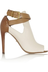 Sergio Rossi Peep Toe Leather Ankle Boots White