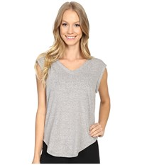 Zobha V Neck Muscle Tee W Open Back Griffin Women's T Shirt Gray
