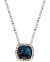 Givenchy Silver Tone Blue Crystal And Pave Pendant Necklace