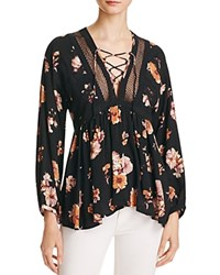 Vintage Havana Floral Print Lace Up Blouse Black