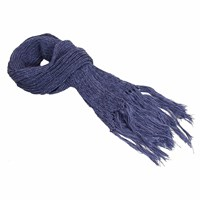 40 Colori Navy Double Threaded Hand Fringed Wool Scarf Blue