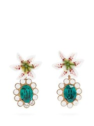 Dolce And Gabbana Crystal Embellished Lily Clip Earrings Gold