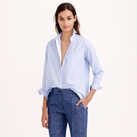 J.Crew Thin Stripe Cropped Button Down Shirt