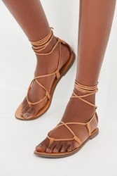 Urban Outfitters Leather Lace Up Gladiator Sandal Brown
