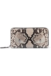 Fendi Monster Eyes Python Continental Wallet Snake Print