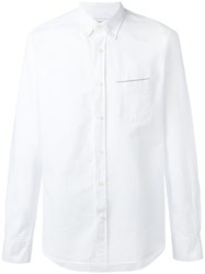 Officine Generale Shirt With Trimmed Pocket White