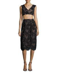 Bcbgmaxazria Scalloped Cutout Crop Top And Skirt Two Piece Set Black
