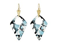 Alexis Bittar Pointed Pyramid Drop Earrings Inverted Abstract Poppy Pattern Earring Blue
