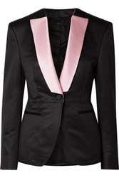 Tom Ford Silk Satin Trimmed Wool Faille Blazer Black