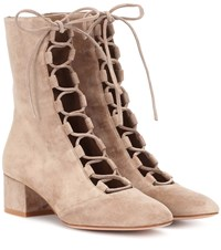 Gianvito Rossi Exclusive To Mytheresa.Com Delia Suede Ankle Boots Beige