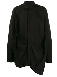 Rick Owens Asymmetric Long Sleeved Shirt Black