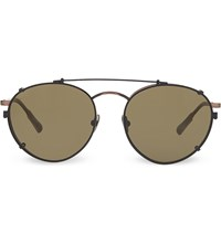 Kris Van Assche Kva71 Unique Circular Combination Aviator Sunglasses Ant Bronze And Black