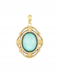 Armenta Old World Oval Turquoise And Diamond Enhancer Pendant No Color