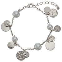 John Lewis Faux Pearl And Disc Charm Chain Bracelet Silver