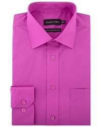 Double Two Men's King Size Plain Non Iron Cotton Rich Shirt Pink