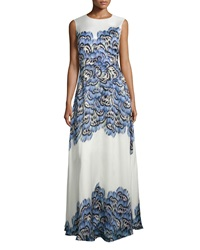 Lela Rose Sleeveless Feather Print Silk Gown Blue