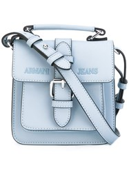 Armani Jeans Single Buckle Satchel Women Polyester Polyurethane One Size Blue