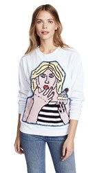 Michaela Buerger Girl With Cupcake Sweatshirt White