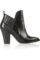Maje Glossed Leather Ankle Boots Black