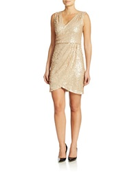 Hailey Logan Sequined Faux Wrap Dress Nude