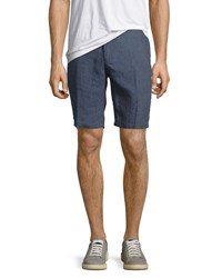 Neiman Marcus Solid Chambray Shorts Blue