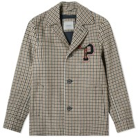 Lanvin Collegiate Patch Check Jacket Brown