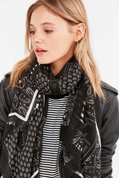 Urban Outfitters Patch Pattern Square Scarf Black