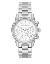 Michael Kors Ritz Studded Stainless Steel Chronograph Bracelet Watch Mk6428 Silver