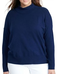 Lauren Ralph Lauren Plus Cotton Turtleneck Pullover Navy