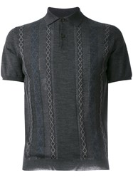 Prada Patterned Polo Shirt Grey