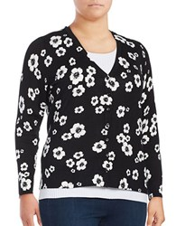 Lord And Taylor Plus Floral Printed Long Sleeve Cardigan Black