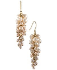 Carolee Gold Tone Imitation Pearl Shaky Cluster Drop Earrings