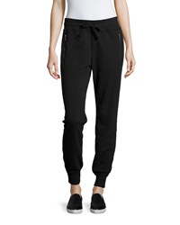 Marc New York Marc Ny Performance Long Yummy Fleece Jogger Pants W Zip Pocket Black