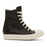 Rick Owens Black And Off White High Top Sneakers