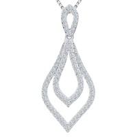 Jools By Jenny Brown Cubic Zirconia Compressed Diamond Shape Necklace Silver