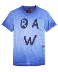 G Star Raw Men's Eshje Ombre Graphic Print Logo T Shirt Bright Prince