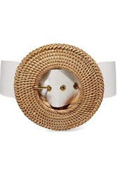 Cult Gaia Gemma Rattan And Faux Leather Belt White