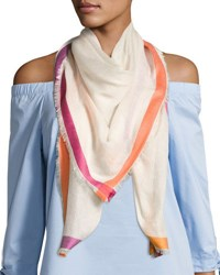 Neiman Marcus Contrast Tipped Scarf Pink