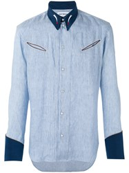 Umit Benan Striped Panel Shirt Men Linen Flax Modal 46 Blue
